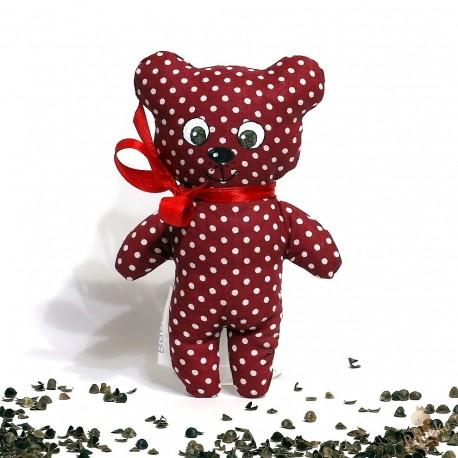 Pohankový medvídek bordó puntík malý