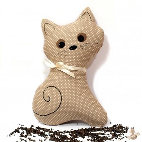 Pohánkový vankúš mačka béžový puntík