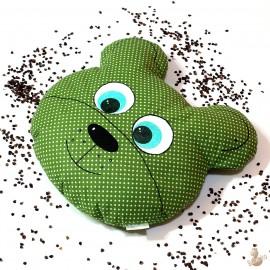 Pohankový polštář medvěd zelený puntík