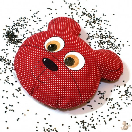 Pohankový polštář medvěd červený puntík