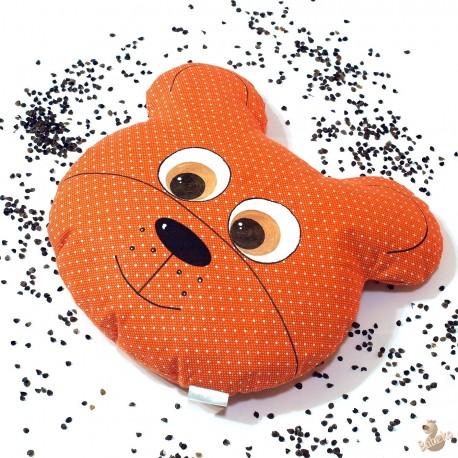 Pohankový polštář medvěd oranžový puntík