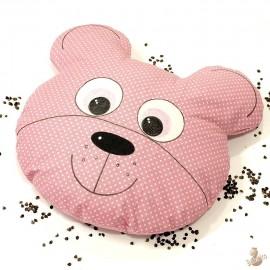 Pohankový polštář medvěd růžový puntík