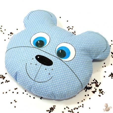 Pohankový polštář medvěd modrý puntík