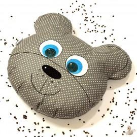 Pohankový polštář medvěd šedý puntík