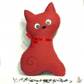Pohankový polštář kočka červený puntík