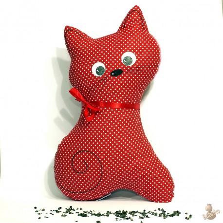 Pohánkový vankúš mačka červený puntík