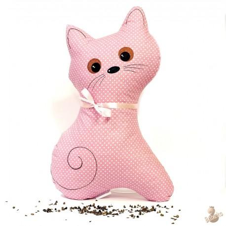 Pohankový polštář kočka růžový puntík