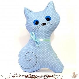 Pohánkový vankúš mačka modrý puntík