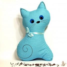 Pohankový polštář kočka tyrkysový puntík