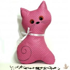 Pohánkový vankúš mačka malinový puntík
