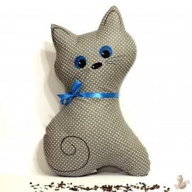Pohankový polštář kočka šedý puntík
