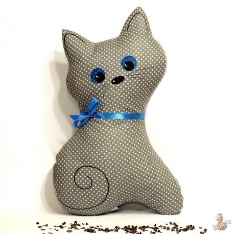 Pohánkový vankúš mačka šedý puntík