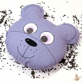Pohánkový vankúš medveď fialový puntík