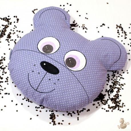 Pohankový polštář medvěd fialový puntík