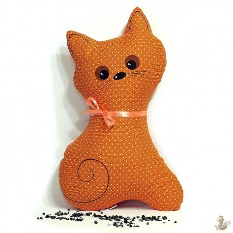 Pohankový polštář kočka oranžový puntík