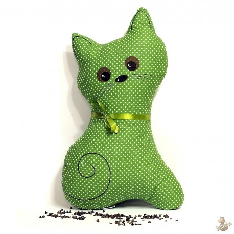 Pohankový polštář kočka zelený puntík