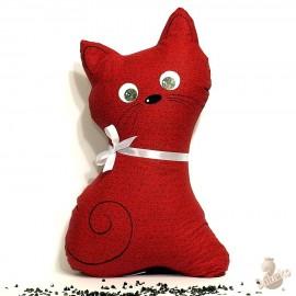 Pohankový polštář kočka červený květ