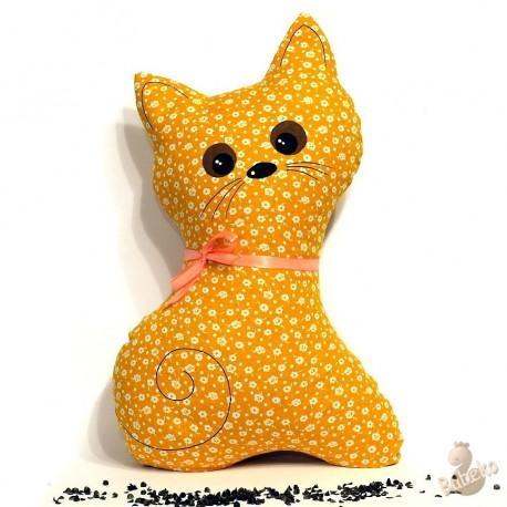 Pohankový polštář kočka oranžový květ