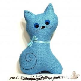 Pohánkový vankúš mačka tyrkysový kvet