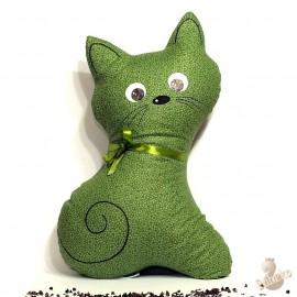 Pohánkový vankúš mačka zelený kvet