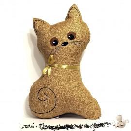 Pohankový polštář kočka béžový květ