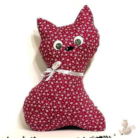 Pohankový polštář kočka malinový květ