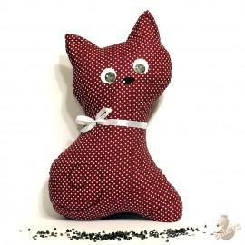 Pohankový polštář kočka bordó puntík