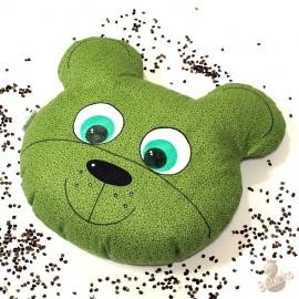 Pohankový polštář medvěd zelený květ