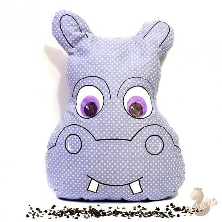 Pohankový polštář hroch fialový puntík