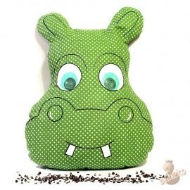 Pohankový polštář hroch zelený puntík