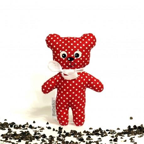 Pohankový medvídek červený puntík malý