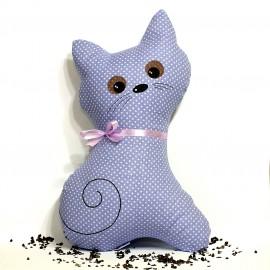Pohankový polštář kočka fialový puntík