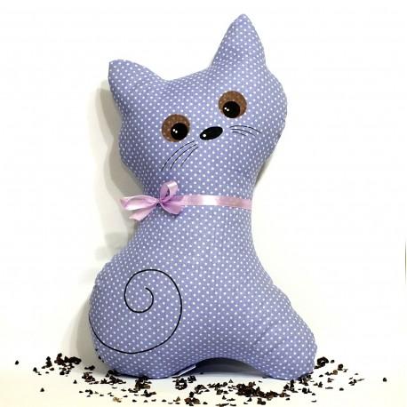 Pohánkový vankúš mačka fialový puntík