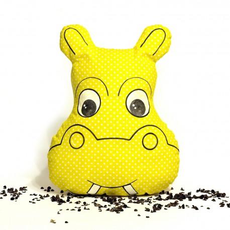 Pohankový polštář hroch žlutý puntík
