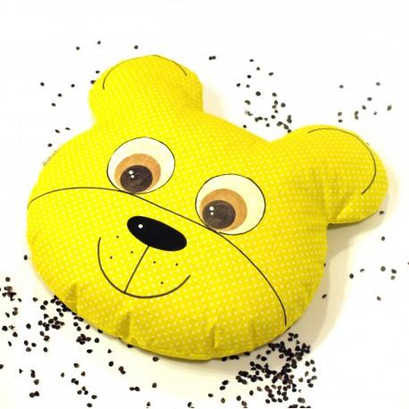Pohankový polštář medvěd žlutý puntík