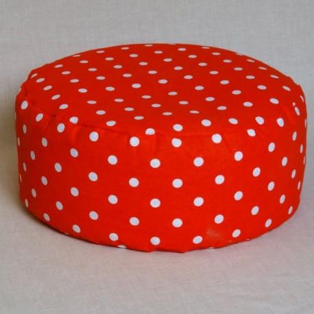 Pohankový meditační sedák 38 x 15 cm červený puntík