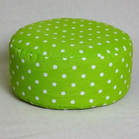 Pohánkový meditačný sedák 38 x 15 cm zelený puntík