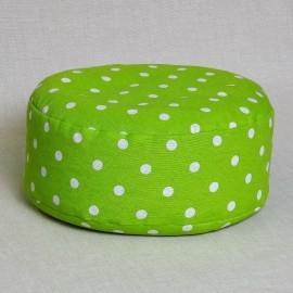 Pohankový meditační sedák 30 x 10 cm zelený puntík