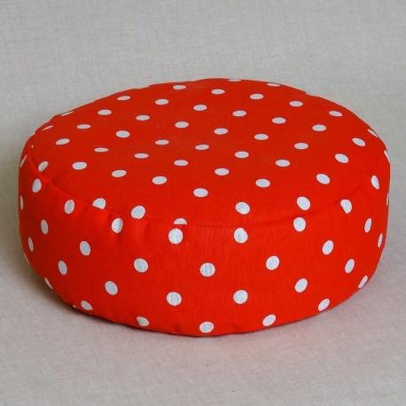 Pohankový meditační sedák 38 x 10 cm červený puntík