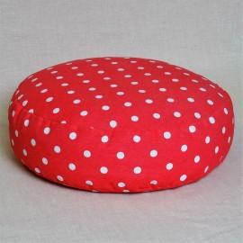 Pohankový meditační sedák 38 x 10 cm růžový puntík