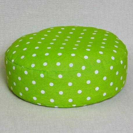Pohankový meditační sedák 38 x 10 cm zelený puntík