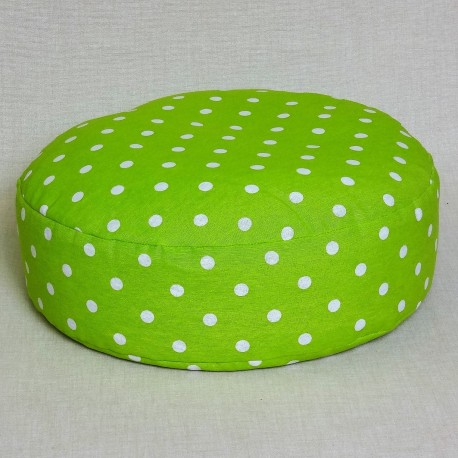 Pohánkový meditačný sedák 38 x 10 cm zelený puntík