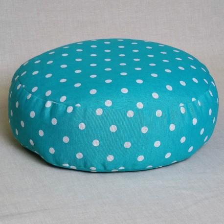 Pohánkový meditačný sedák 38 x 10 cm tyrkysový puntík