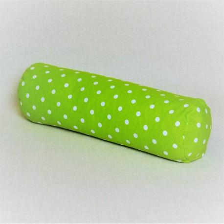 Pohankový relaxační válec 15 x 50 cm zelený puntík