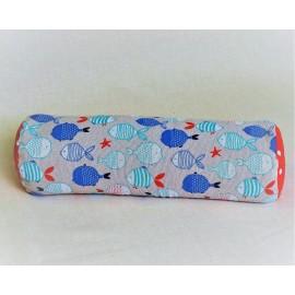 Pohánkový relaxačný valec 15 x 50 cm rybičky / červený puntík