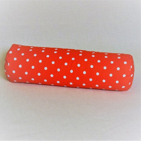 Pohánkový relaxačný valec 15 x 70 cm červený puntík