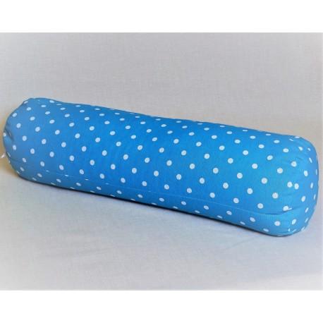 Pohankový relaxační válec 15 x 70 cm modrý puntík