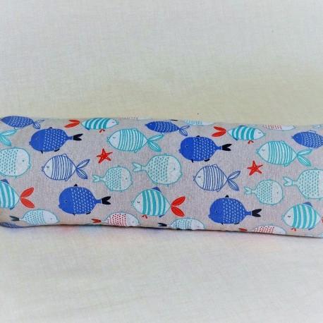 Pohánkový relaxačný valec 15 x 70 cm rybičky / tyrkysový puntík