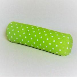 Pohankový relaxační válec 20 x 70 cm zelený puntík