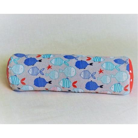Pohankový relaxační válec 20 x 70 cm rybičky / červený puntík